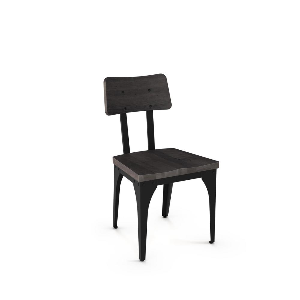 Woodland textured black with medium dark grey wood seat dining chair set of 2
