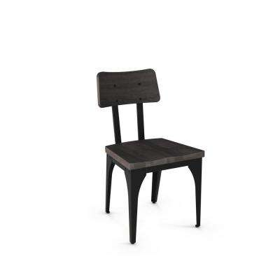 Woodland Textured Black with Medium Dark Grey Wood Seat Dining Chair (Set of 2)