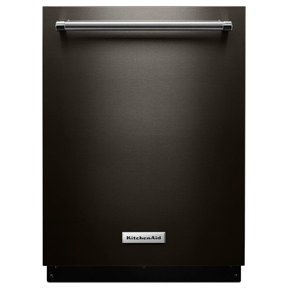Top Control Built-In Tall Tub Dishwasher in Black Stainless with Stainless