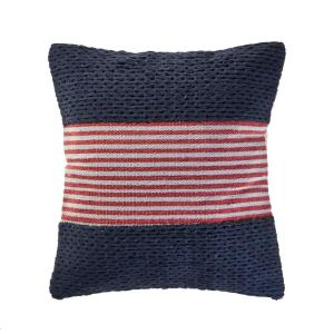 Nautical Navy 20 in. x 20 in. Striped Throw Pillow