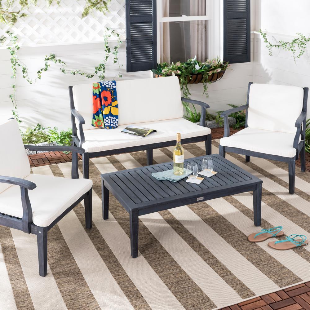 Safavieh Bradbury 4-Piece Dark Slate Gray Wood Patio Seating Set with Beige Cushions