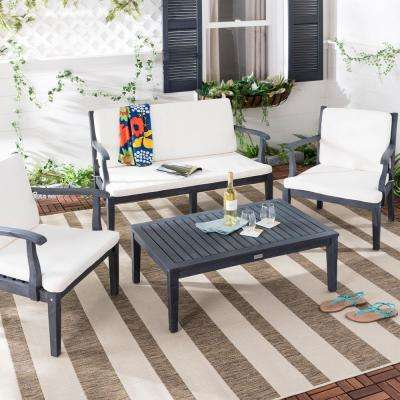 Bradbury 4-Piece Dark Slate Gray Wood Patio Seating Set with Beige Cushions