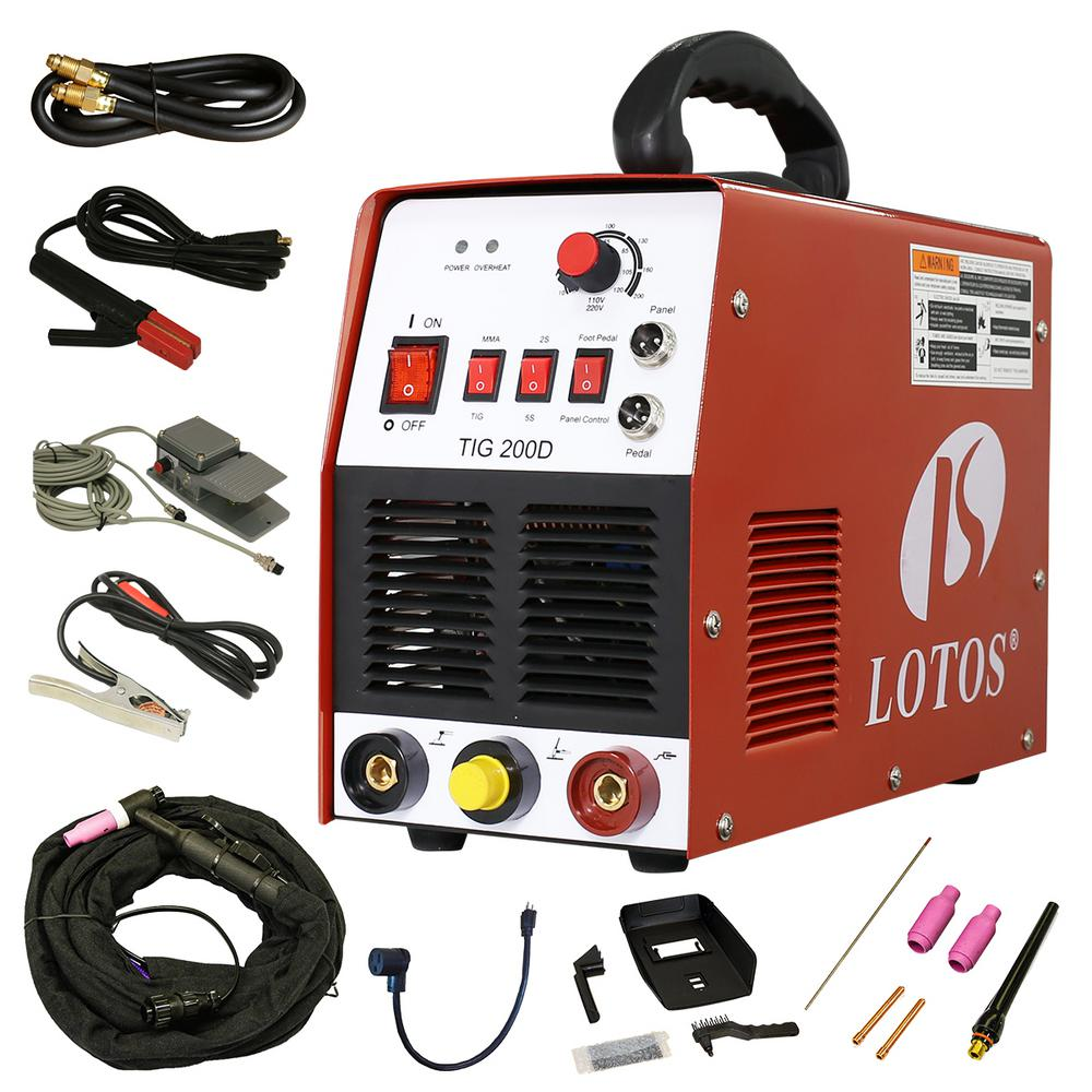 Lotos 200 Amp TIG/Stick DC Inverter Welder with foot pedal for stainless and mild steel, Dual Voltage 110/220V