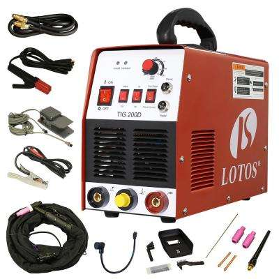 200 Amp TIG/Stick DC Inverter Welder with foot pedal for stainless and mild steel, Dual Voltage 110/220V