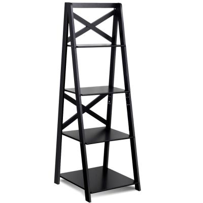 Classic 56.3 in. 4-Tier Ladder Shelf Bookshelf in Black