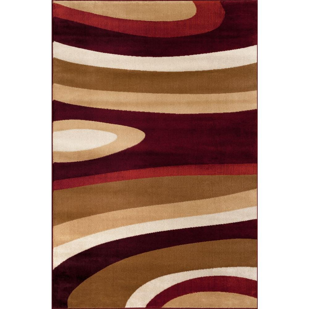 Abstract Contemporary Modern Red 9 Ft X 12 Ft Area Rug