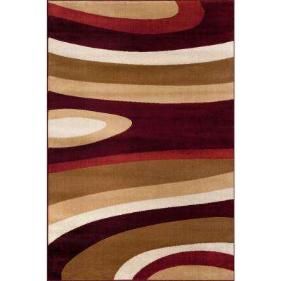 Abstract Contemporary Modern Burgundy 3 ft. x 5 ft. Indoor Area Rug