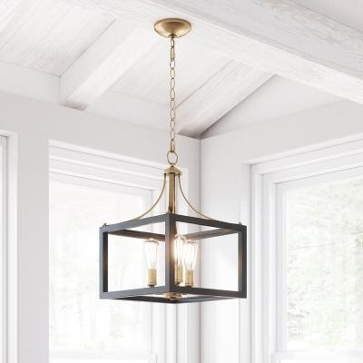 Boswell Quarter 3-Light Vintage Brass Chandelier with Painted Black Distressed Wood Accents