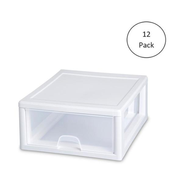16 Qt. New 2301 Box Modular Stacking Storage Container (12-Pack)