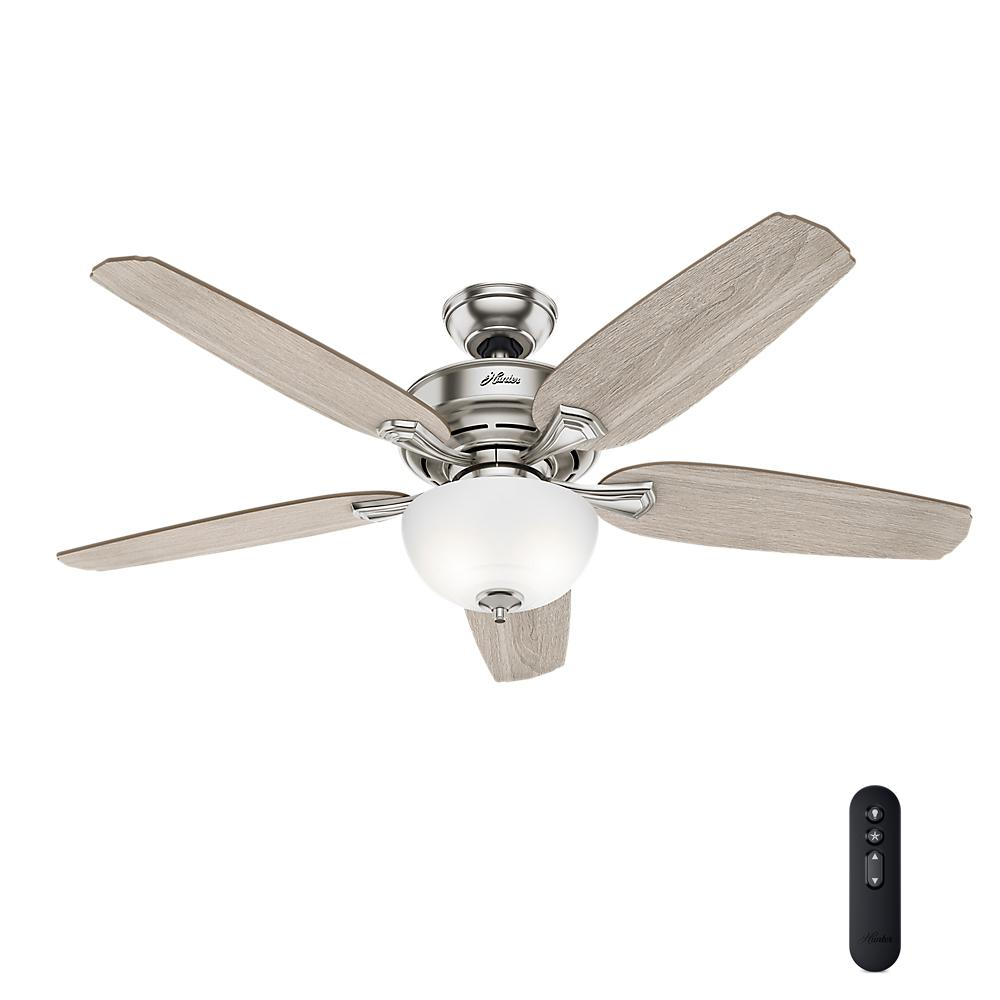 LED Indoor Easy Install Brushed Nickel Ceiling Fan With HunterExpress Feature