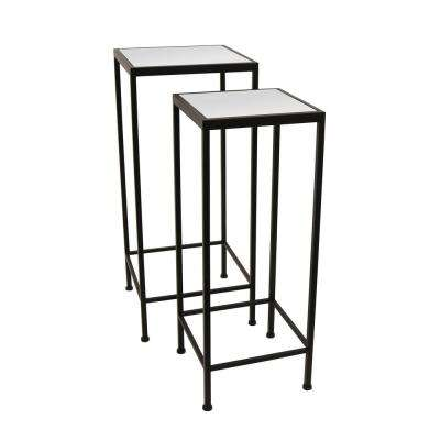 27.75 in. Black Metal/Mirrored Table (Set of 2)