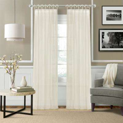 Greta 52 in. W x 95 in. L Polyester Sheer Window Curtain PaneL in Ivory