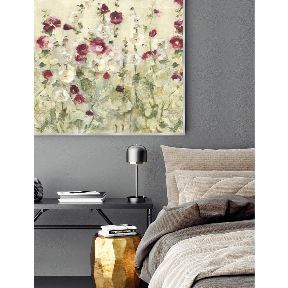 31.5 in. x 31.5 in. 'Hollyhocks Row-Crop' by Cheri Blum Fine Art Canvas Framed Print Wall Art