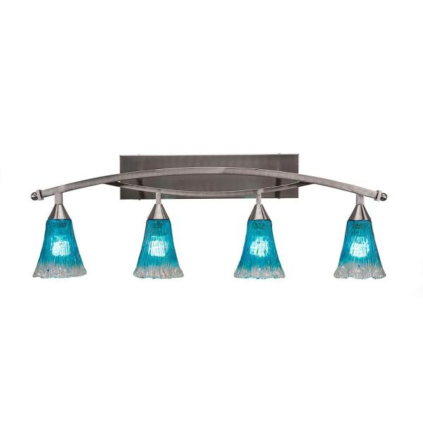 4-Light 20 in. Brushed Nickel Vanity Light with 5.5 in. Teal Crystal Glass