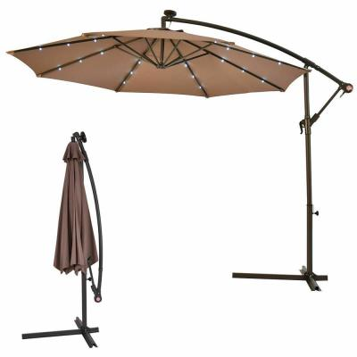 10 ft. Steel Market Hanging Solar LED Patio Umbrella with Base in Tan