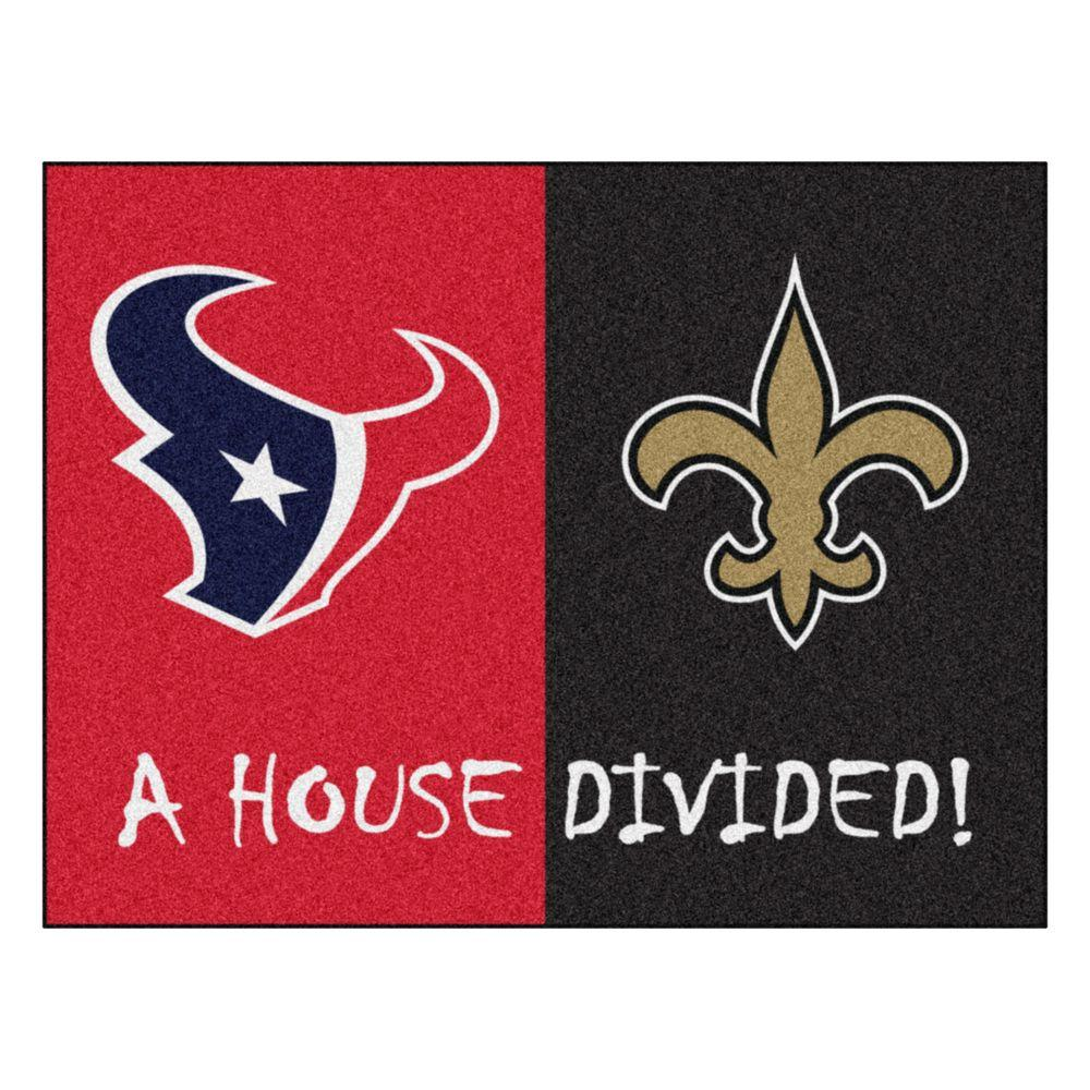 e99163cf FANMATS NFL Texans / Saints Red House Divided 3 ft. x 4 ft. Area Rug