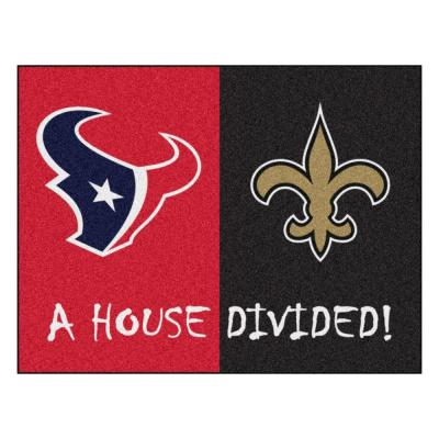NFL Texans / Saints Red House Divided 3 ft. x 4 ft. Area Rug