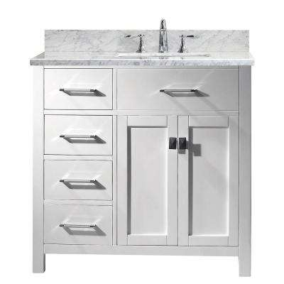 Caroline Parkway 36 in. W Bath Vanity in White with Marble Vanity Top in White with Square Basin