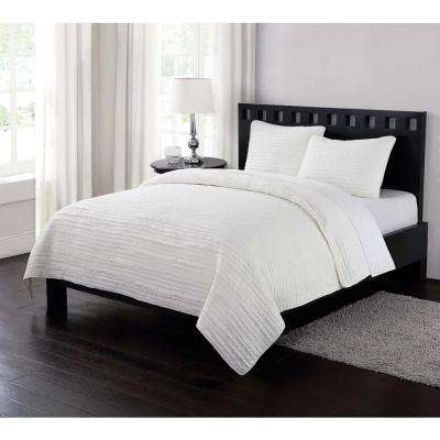 Garment Washed Crinkle Cream 3-Piece Cream Full and Queen Quilt with 2 Shams
