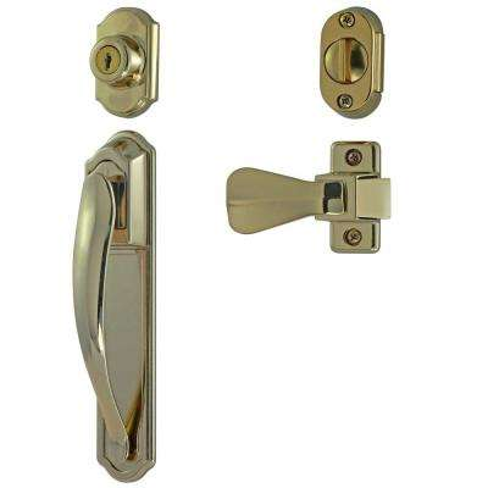 Bright Brass Coated Zinc Storm Door Pull Handle with Key Lock Set