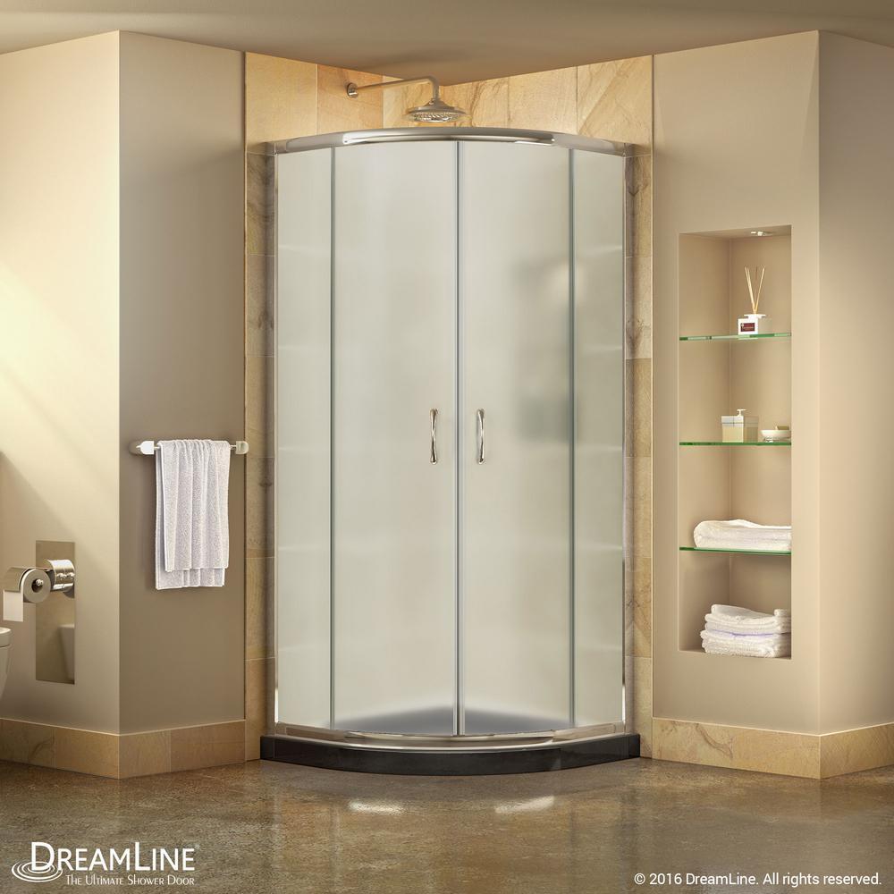 Prime 33 in. x 33 in. x 74.75 in. H Corner Semi-Frameless Sliding Shower Enclosure in Chrome with Shower Base in Black