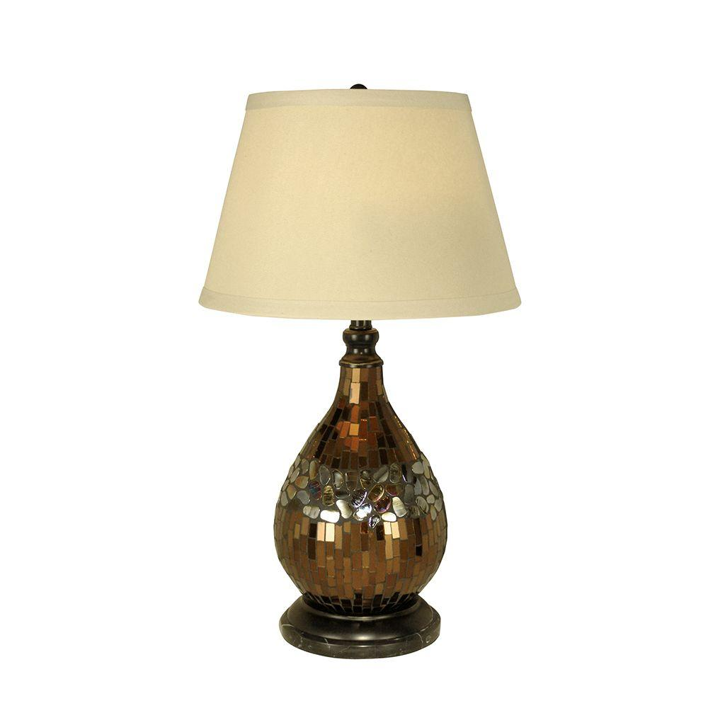 Mosaic Gl Dome Dark Antique Bronze Table Lamp
