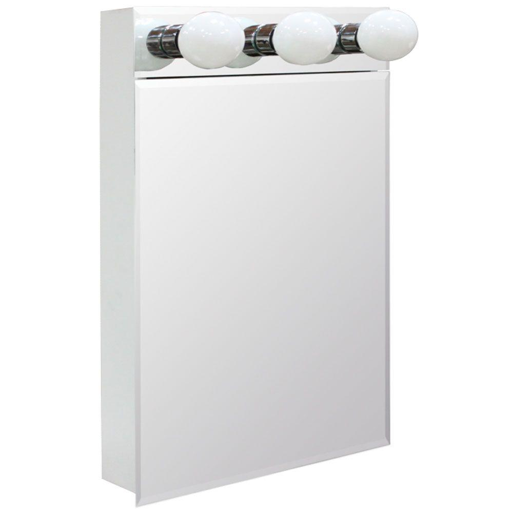 H Lighted Frameless Beveled Bathroom Medicine Cabinet