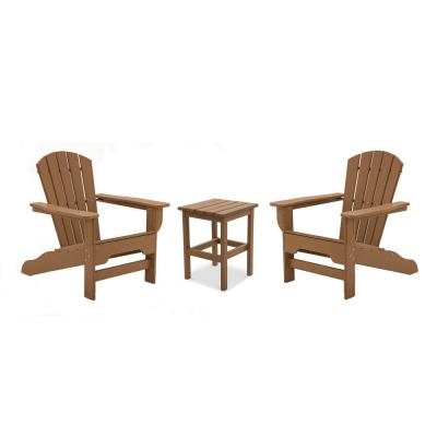 Boca Raton Teak 3-Piece Recycled Plastic Patio Curveback Adirondack Chat Set