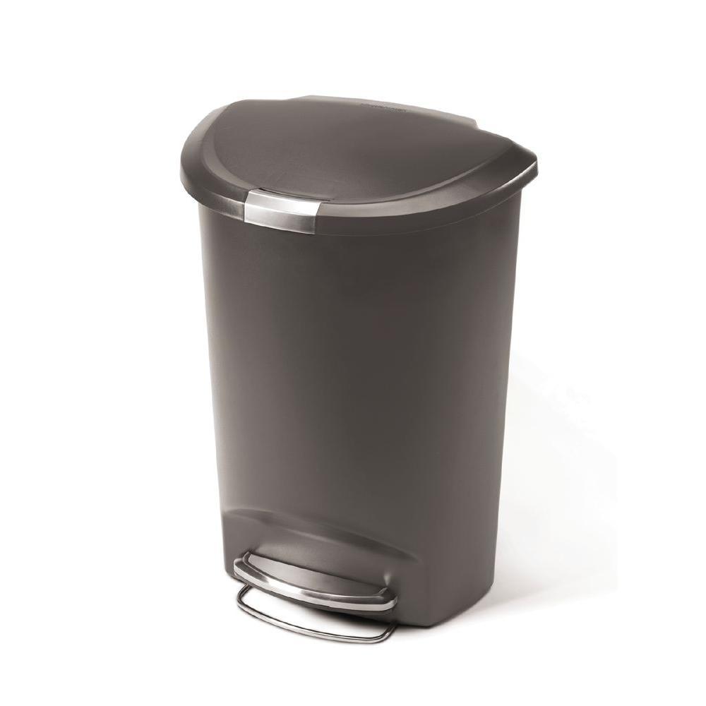 13 Gal. Grey Plastic Semi-Round Step Trash Can