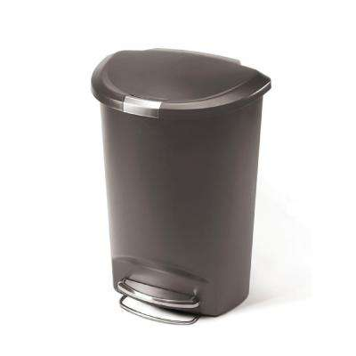 13 Gal. Grey Plastic Semi-Round Step Trash Can