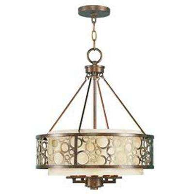 5-Light Palatial Bronze Incandescent Ceiling Chandelier with Gilded Accents