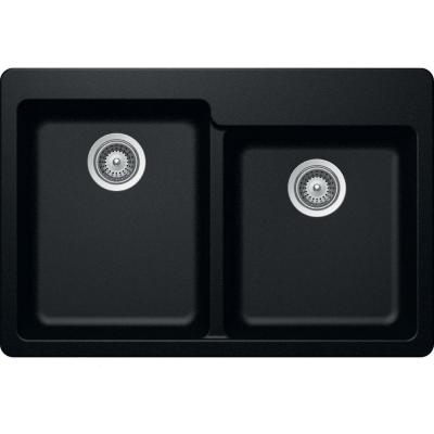 Elkay by Schock Drop-In/Undermount Quartz Composite 33 in. Square Offset Double Bowl Kitchen Sink in Caviar
