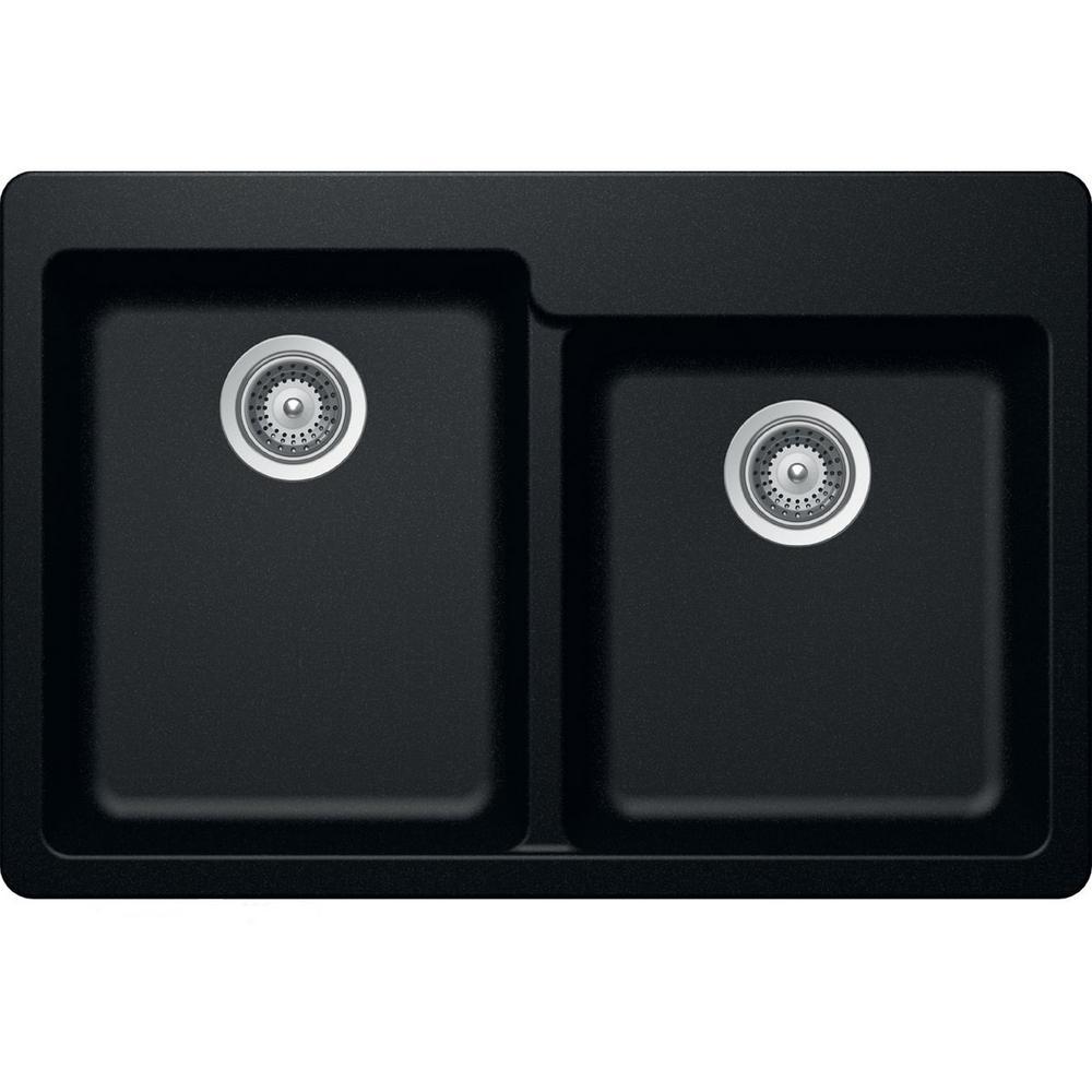 Elkay by Schock Drop-In/Undermount Quartz Composite 33 in. Square Offset Double Bowl Kitchen Sink in Caviar