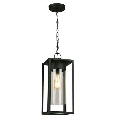 Walker Hill 7.36 in. W x 17.63 in. H 1-Light Matte Black Outdoor Hanging Pendant Light with Clear Glass