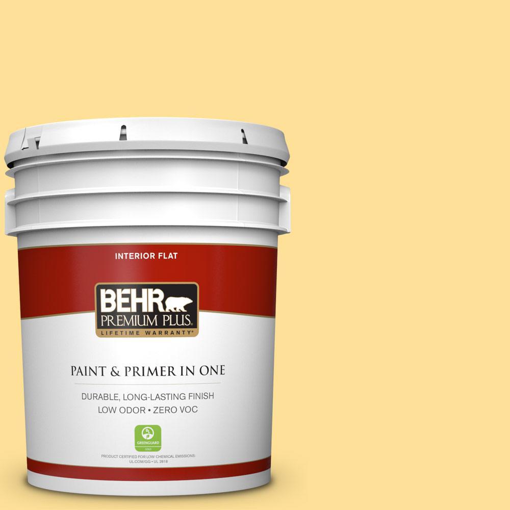 BEHR Premium Plus 5-gal. #330B-4 Cheerful Hue Zero VOC Flat Interior Paint
