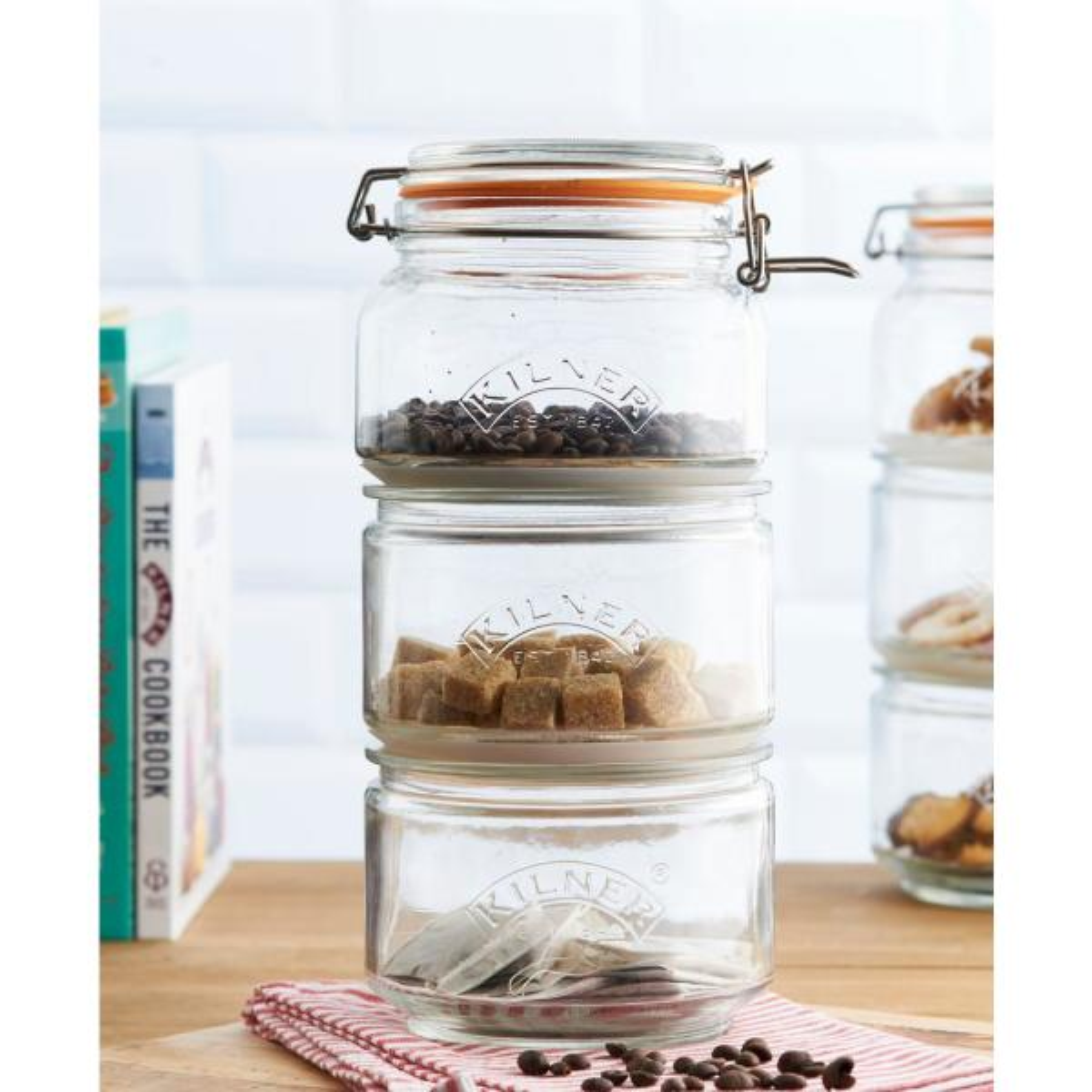 Kilner Stackable 4 Piece Glass Storage Jar Set 0025 897u The Home Depot