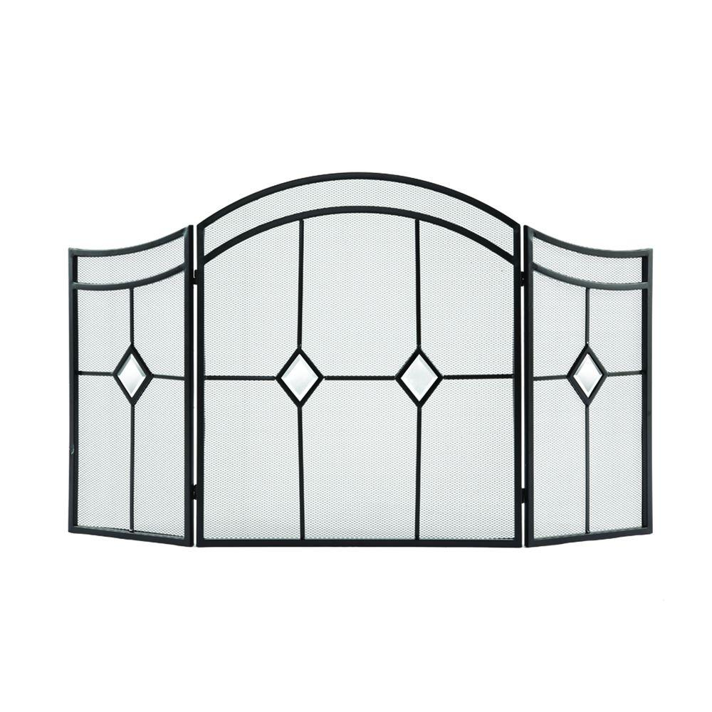 Pleasant Hearth Diamond Espresso Steel 3-Panel Fireplace Screen