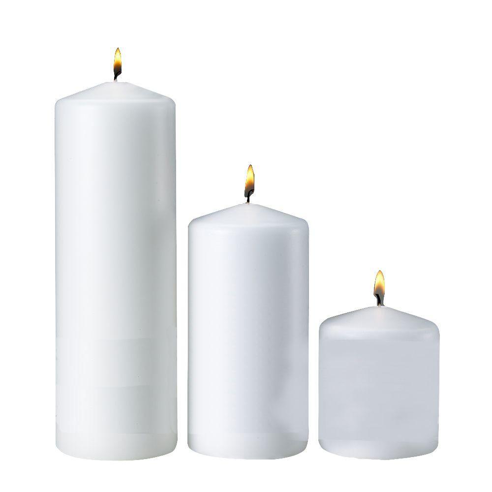 3 in. x 3 in. 3 in. x 6 in. 3 in. x 9 in. White Pillar Candles (Set of 3)