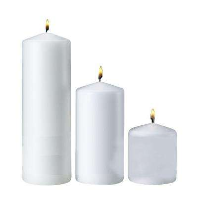 3 in. x 3 in. 3 in. x 6 in. 3 in. x 9 in. White Pillar Candles (Set of 3)