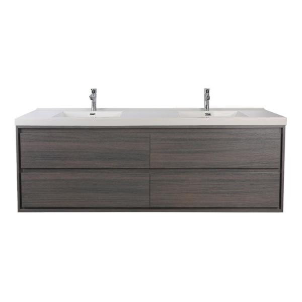 Sage 60 in. W Bath Vanity in Gray Oak with Reinforced Acrylic Vanity Top in White with White Basins