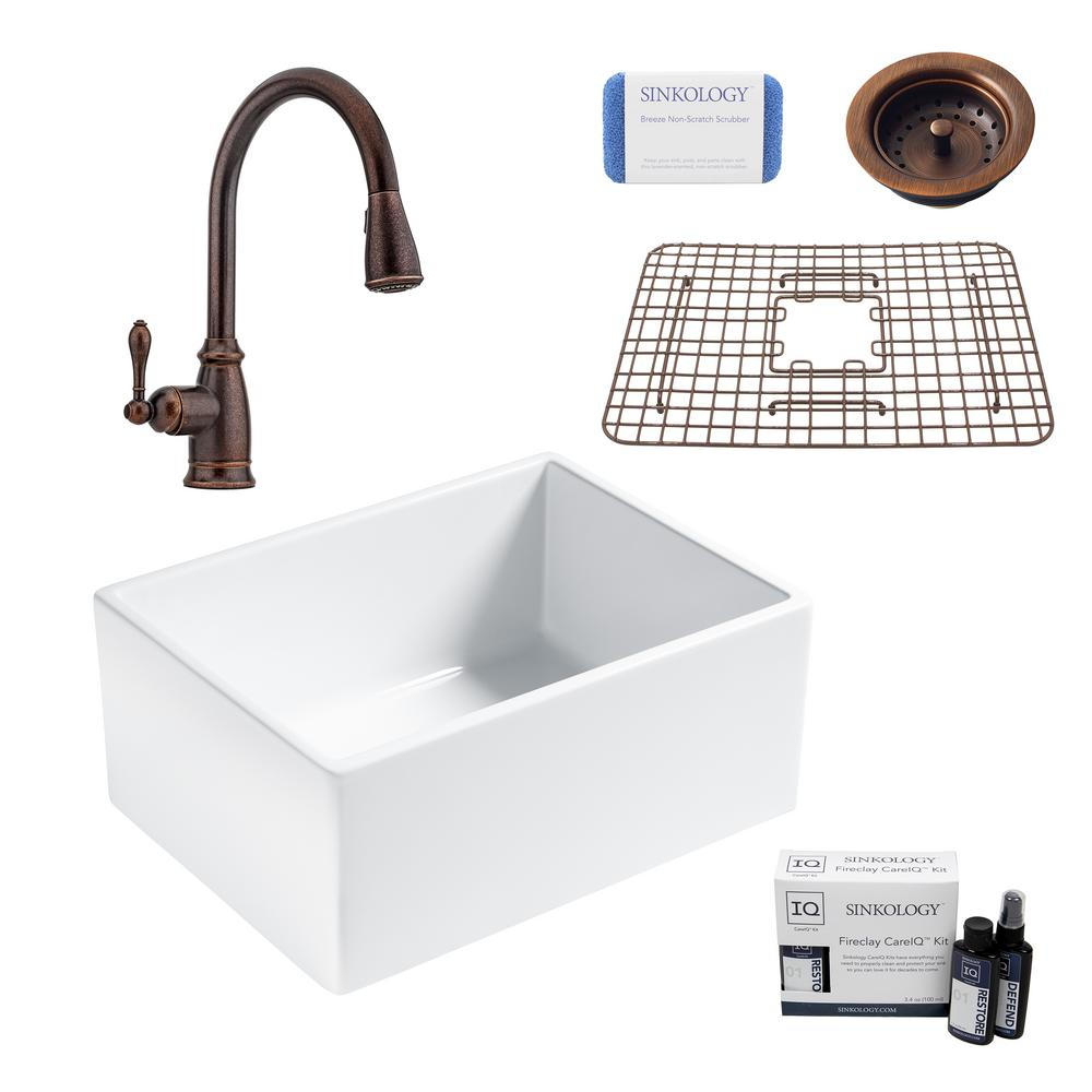 SINKOLOGY Wilcox II All-in-One Farmhouse/Apron Fireclay 24 in. Single Bowl Kitchen Sink with Pfister Bronze Faucet and Strainer
