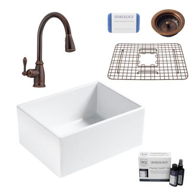Wilcox II All-in-One Farmhouse/Apron Fireclay 24 in. Single Bowl Kitchen Sink with Pfister Bronze Faucet and Strainer