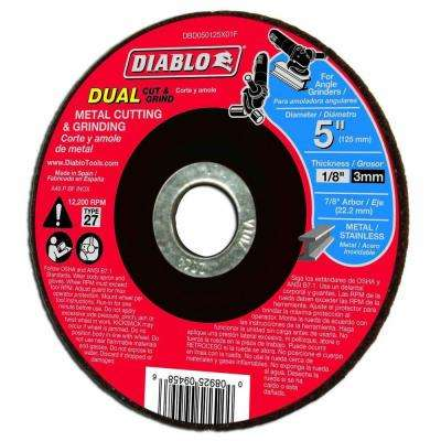 5 in. x 1/8 in. x 7/8 in. Dual Metal Cutting and Grinding Disc with Type 27 Depressed Center
