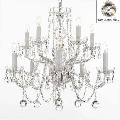 Great 10 Light Empress Crystal Chandelier With Faceted Crystal Balls