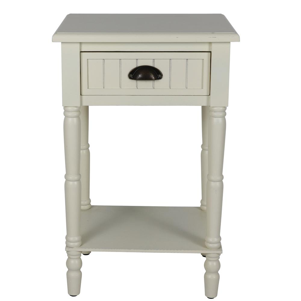 Decor Therapy Bailey Bead Antique White Side Table