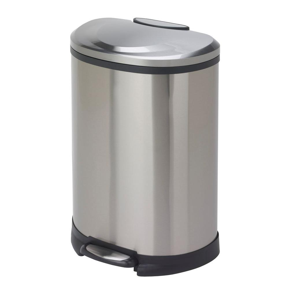 HDX HDX 13 gal. Fingerprint-Proof Stainless Steel Semi-Round Trash Can, Silver metallic