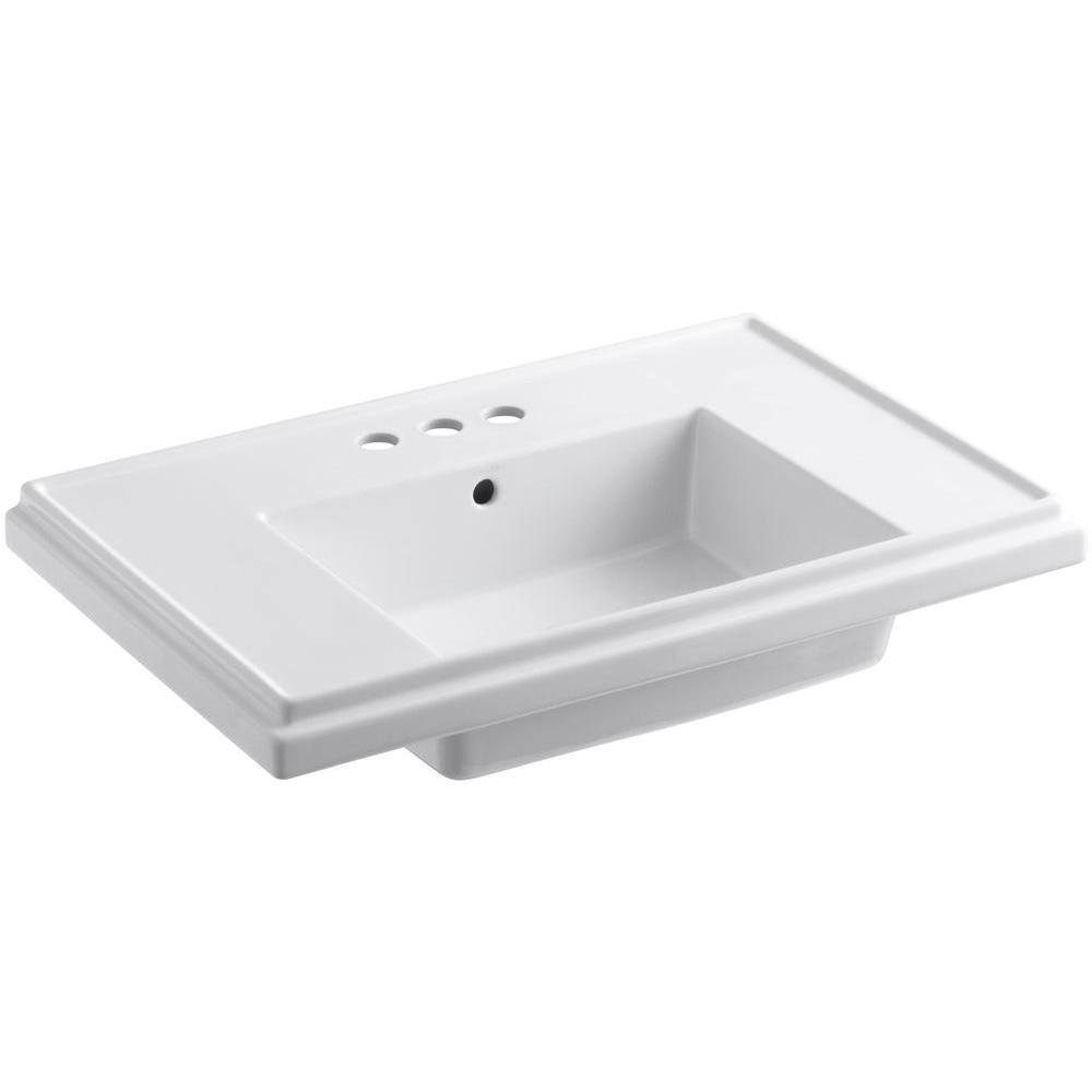 kohler tresham 30 in fireclay pedestal sink basin in white with overflow drain