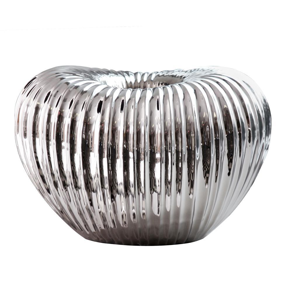 Ribbed Electroplated Ceramic Decorative Vase Short