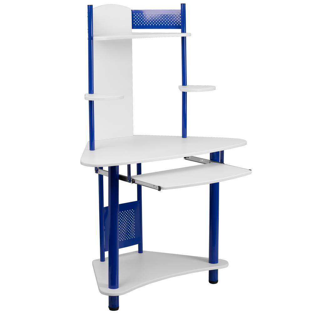 Flash Furniture Blue and White Corner Computer Desk with Hutch, Blue/ White This computer workstation provides a convenient workspace with a splash of color that will appeal to young kids and adults. This computer desk allows a place to put your monitor or laptop, keyboard, CPU, printer and speakers. The pull-out keyboard platform can store your keyboard away when no longer needed. This desk provides a great option for studying or for casual computer usage. The corner workstation design allows you to save floor space. Color: Blue/ White.