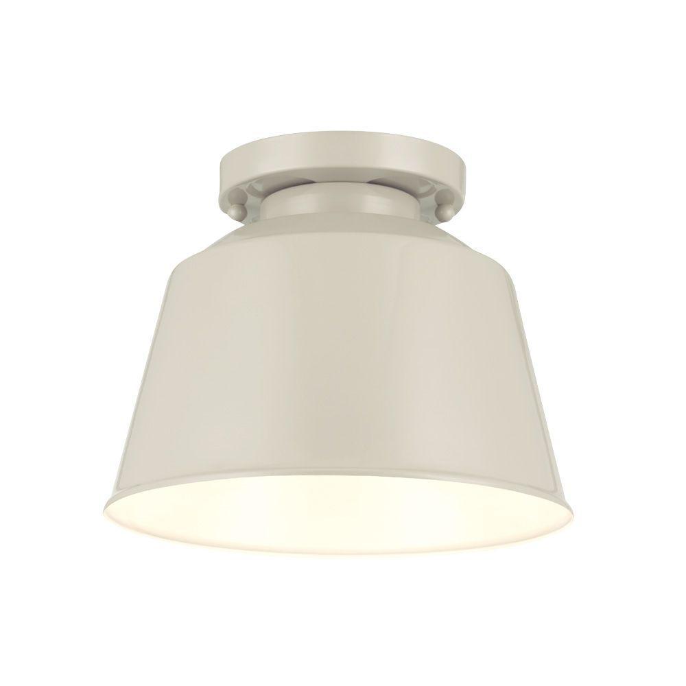 Freemont 9 in. W x 7.125 in. H 1-Light Hi Gloss Gray Damp Rated Indoor/Outdoor Semi-Flush Metal Drum Ceiling Fixture